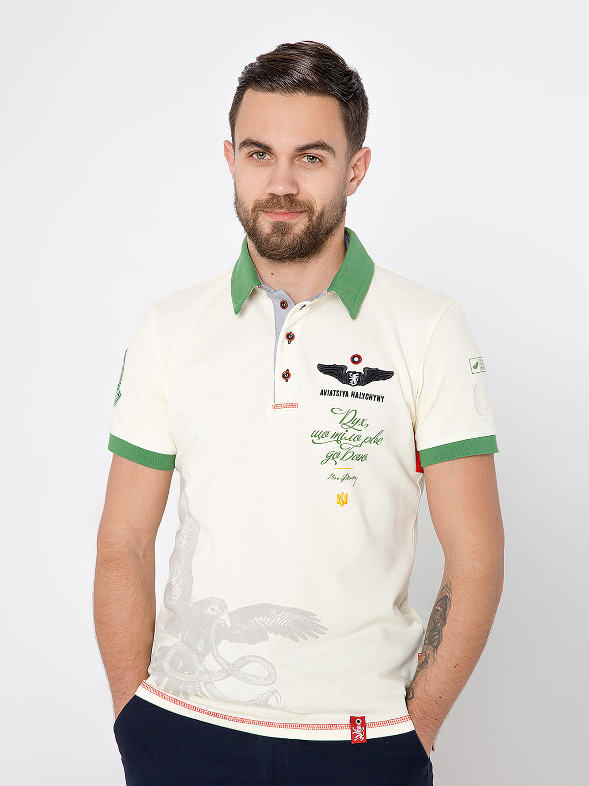 Men's Polo Shirt Ivan Franko. Color ivory. Pique fabric: 100% cotton.