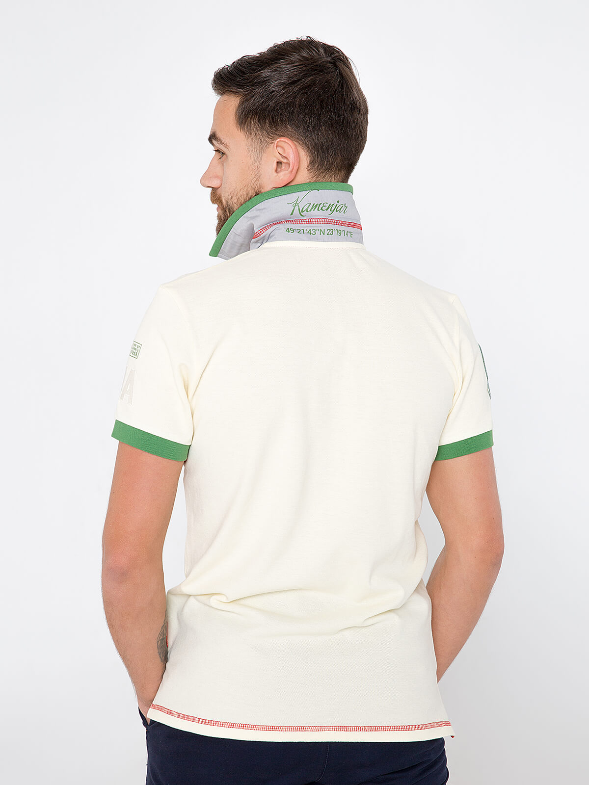 Men's Polo Shirt Ivan Franko. Color ivory.  Technique of prints applied:   embroidery, silkscreen printing, chevron.