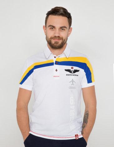 Men's Polo Shirt Mriya. Color white. Pique fabric: 100% cotton.