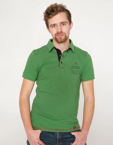 Men's Polo Shirt Wings. Color green. 8.