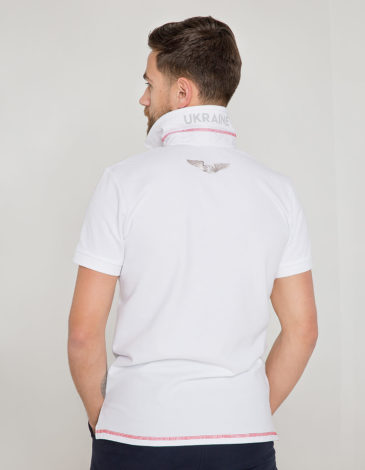 Men's Polo Shirt Wings. Color white. .