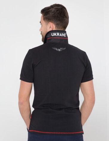 Men's Polo Shirt Wings. Color black. 11.