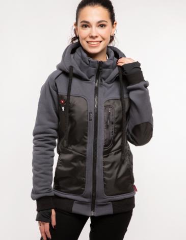 Women's Hoodie Syla. Color graphite. Unisex hoodie (men's sizes).
