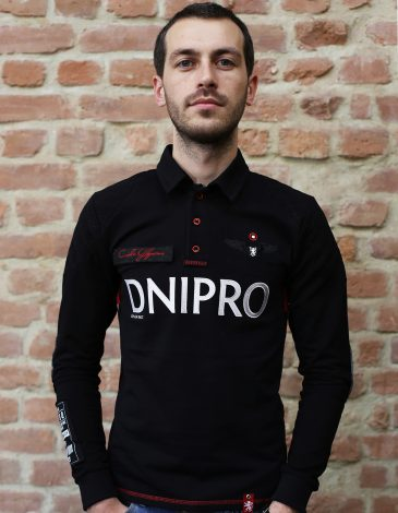 Men's Polo Long Air Race Dnipro. Color black.  Technique of prints applied: embroidery, silkscreen printing.