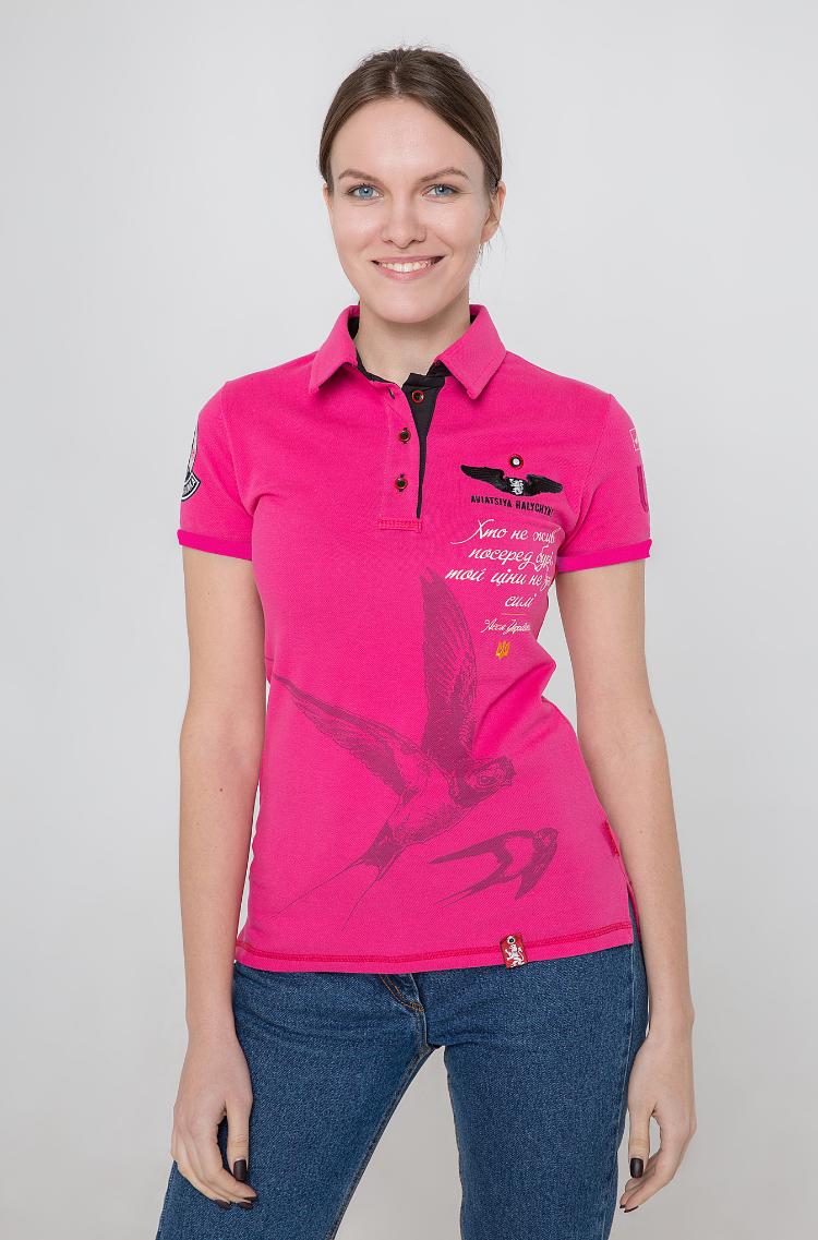 Women's Polo Shirt Lesia Ukrainka. Color pink. Pique fabric: 100% cotton.
