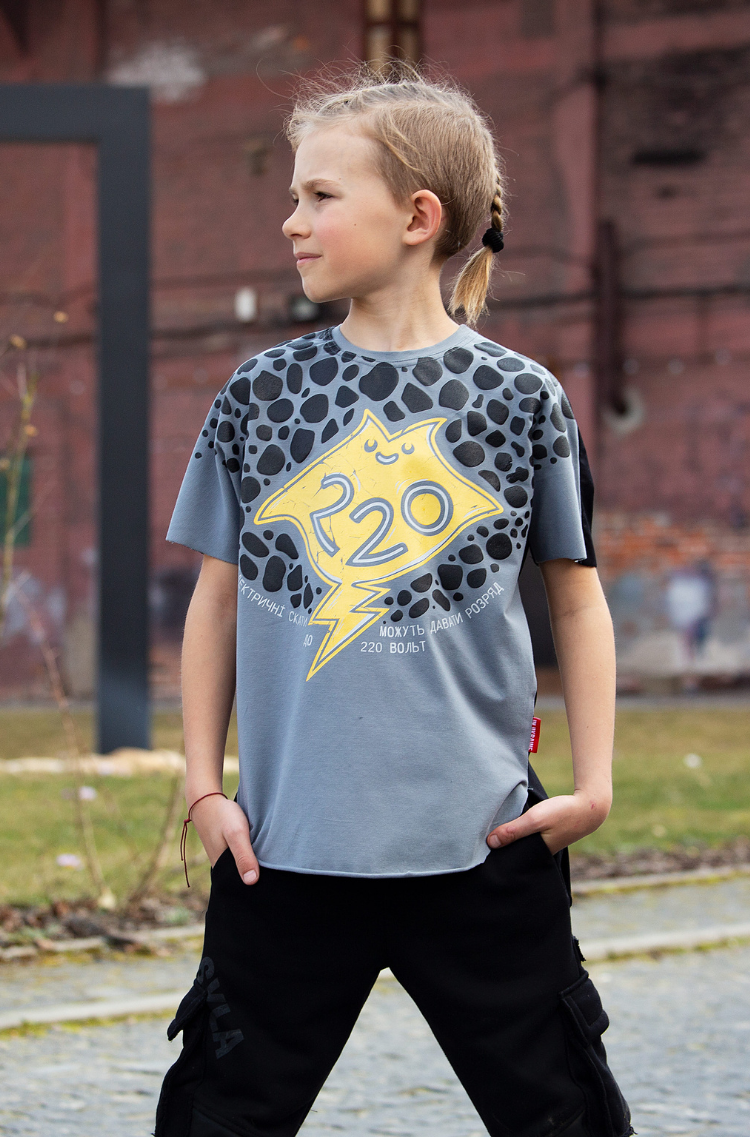 Kids T-Shirt Stingray. Color dark gray. .