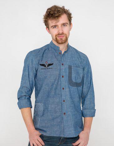Men's Shirt 10 Mab. Color denim. Material: 100% cotton Technique of prints applied: silkscreen printing.