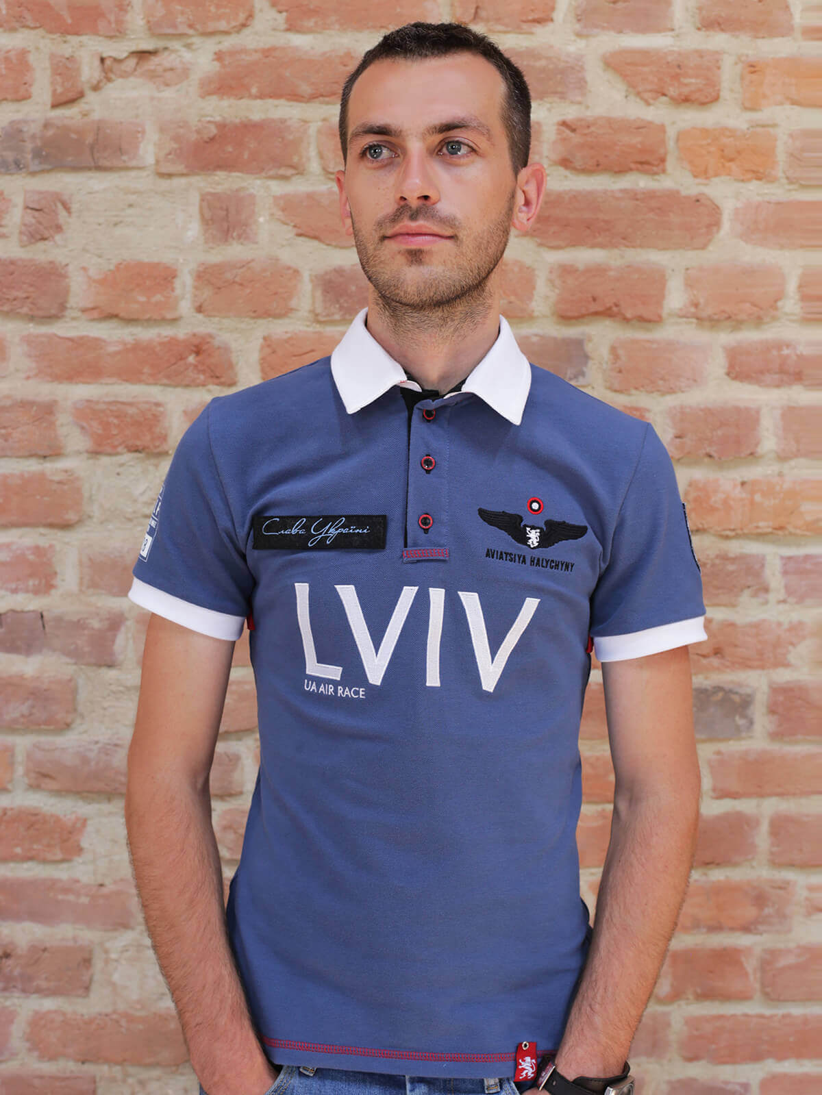 Men's Polo Long Air Race Lviv. Color denim. Pique fabric: 100% cotton.