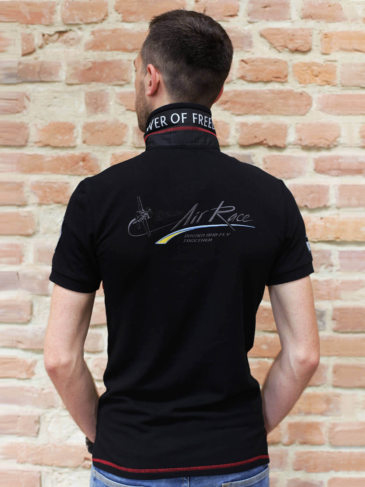 Чоловіче Поло Air Race Dnipro. Колір чорний.  Тканина піке: 100% бавовна.