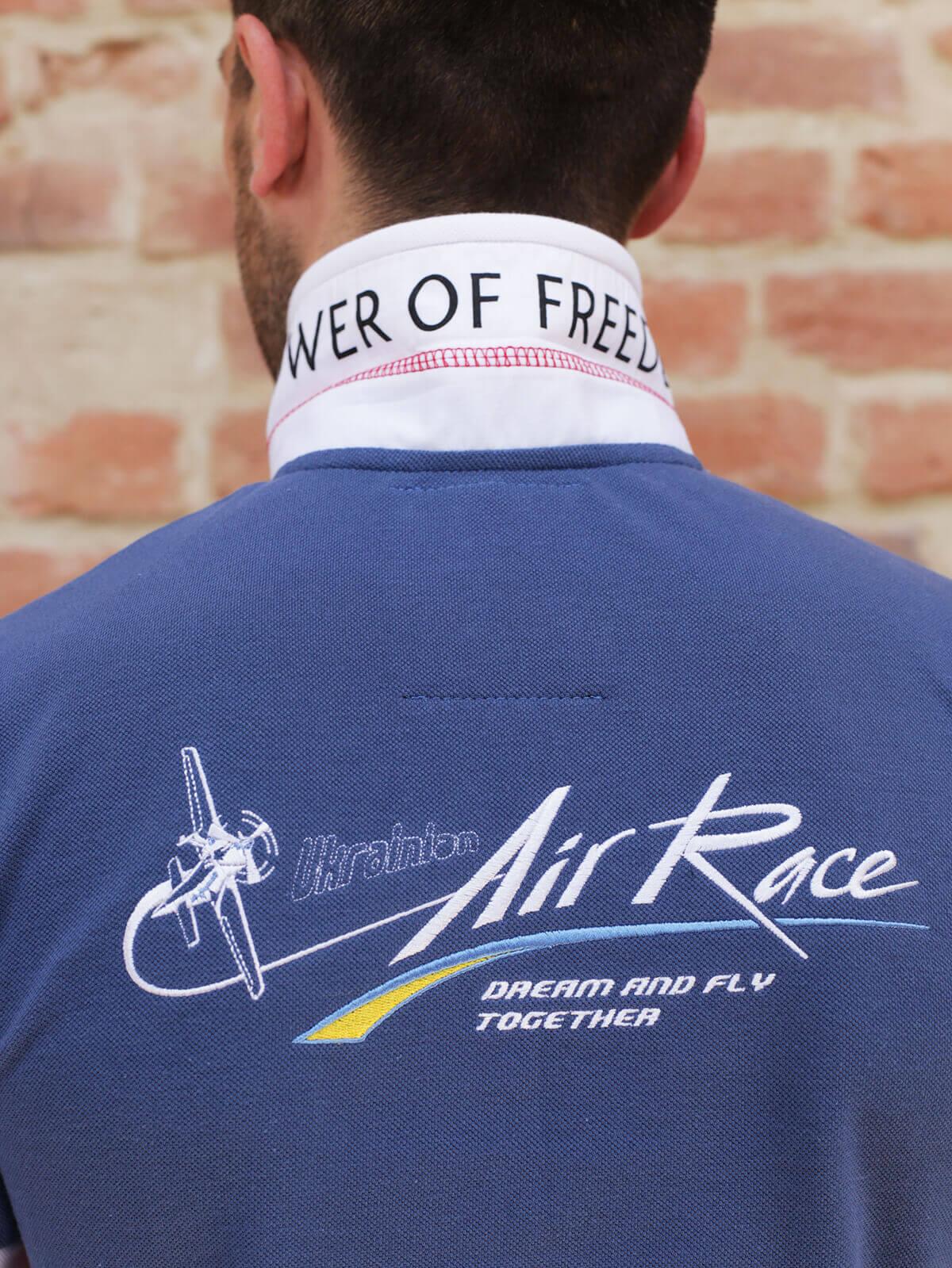 Men's Polo Long Air Race Lviv. Color denim.  Size worn by the model: S.