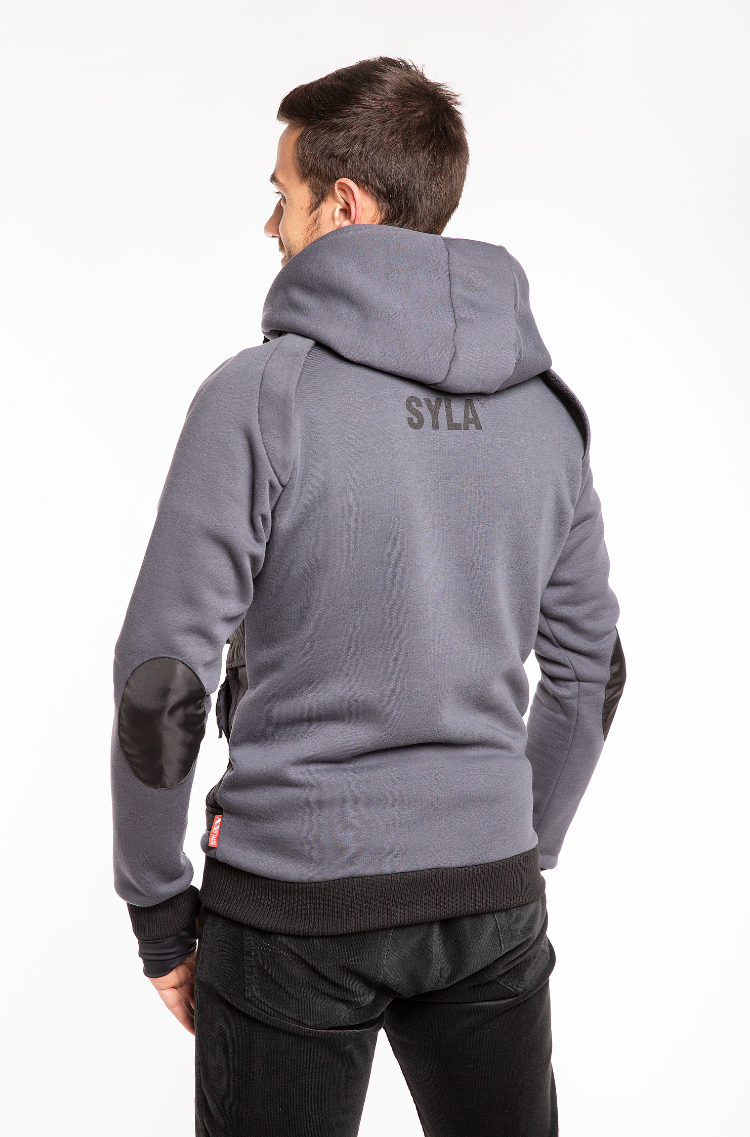 Men's Hoodie Syla. Color graphite.  Material of the hoodie – three-cord thread fabric: 77% cotton, 23% polyester.