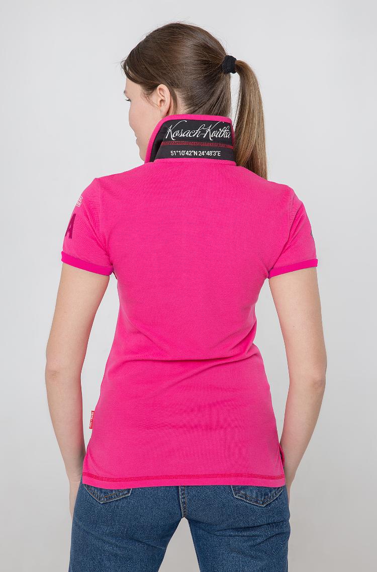 Women's Polo Shirt Lesia Ukrainka. Color pink.  Technique of prints applied: embroidery, silkscreen printing.