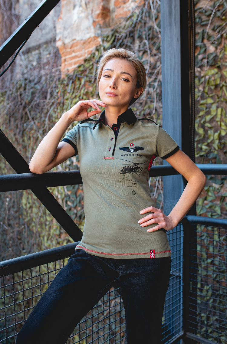 Women's Polo Shirt Sikorsky. Color khaki.  Height of the model: 175 cm.