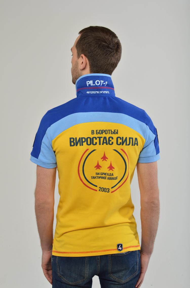 Men's Polo Shirt 114 Brigade (Ivano-Frankivsk). Color yellow.  Технологія нанесення зображень: вишивка, шовкодрук, шеврони.