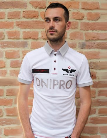 Men's Polo Long Air Race Dnipro. Color white.  Technique of prints applied: embroidery, silkscreen printing.