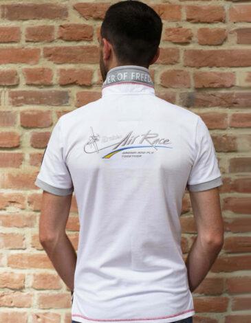Men's Polo Long Air Race Dnipro. Color white. Pique fabric: 100% cotton.