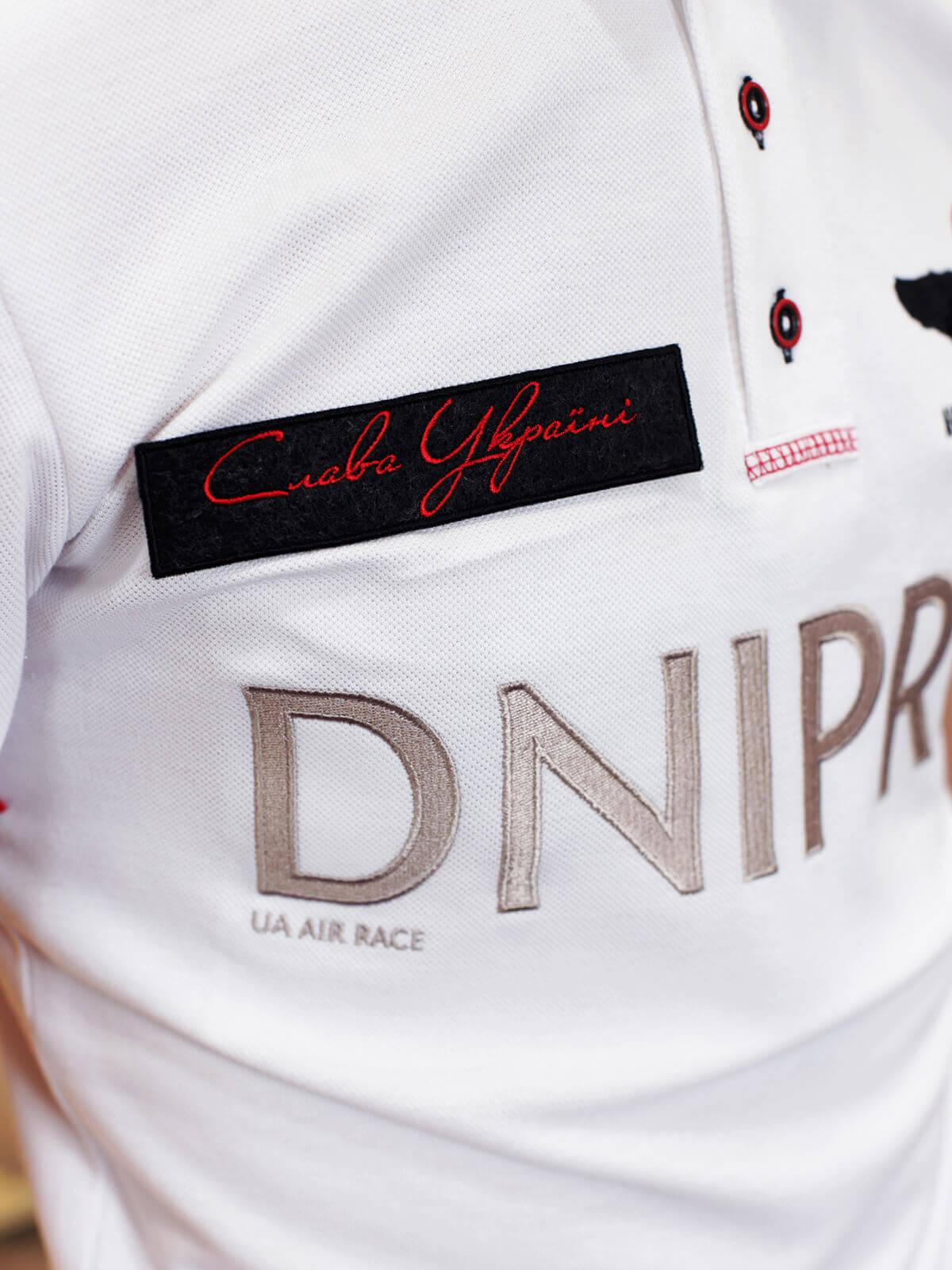 Чоловіче Поло Air Race Dnipro. Колір білий.  Зріст моделі: 176 см.