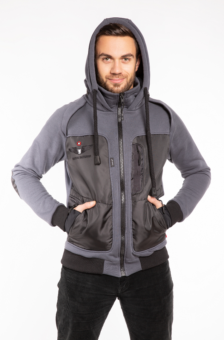 Men's Hoodie Syla. Color graphite.  Material of the inserts – oxford cloth: 100% polyester.
