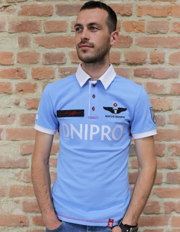 Men's Polo Long Air Race Dnipro. Color sky blue. Pique fabric: 100% cotton.