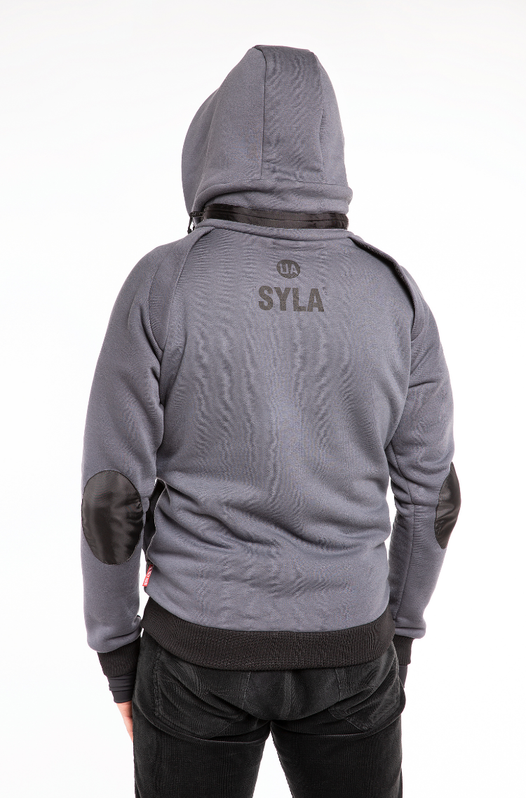 Men's Hoodie Syla. Color graphite.  Material of the raincoat: 100% polyester.