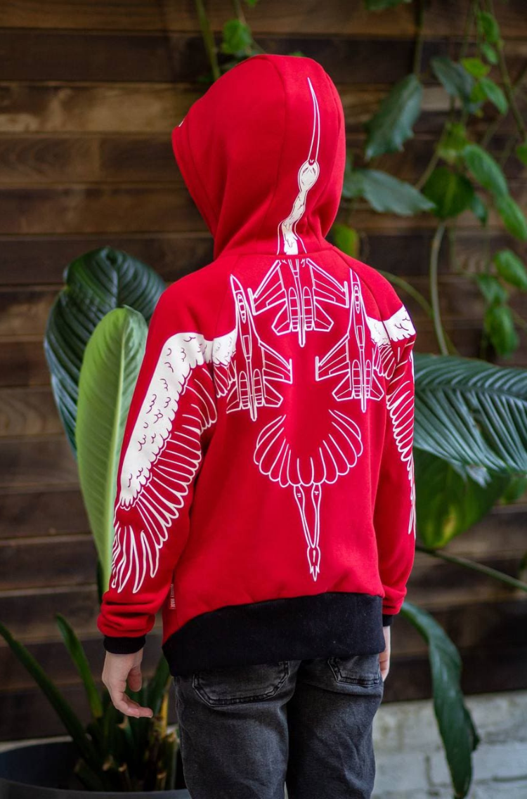 Kids Hoodie Stork. Color red.  The color shades on your screen may differ from the original color.