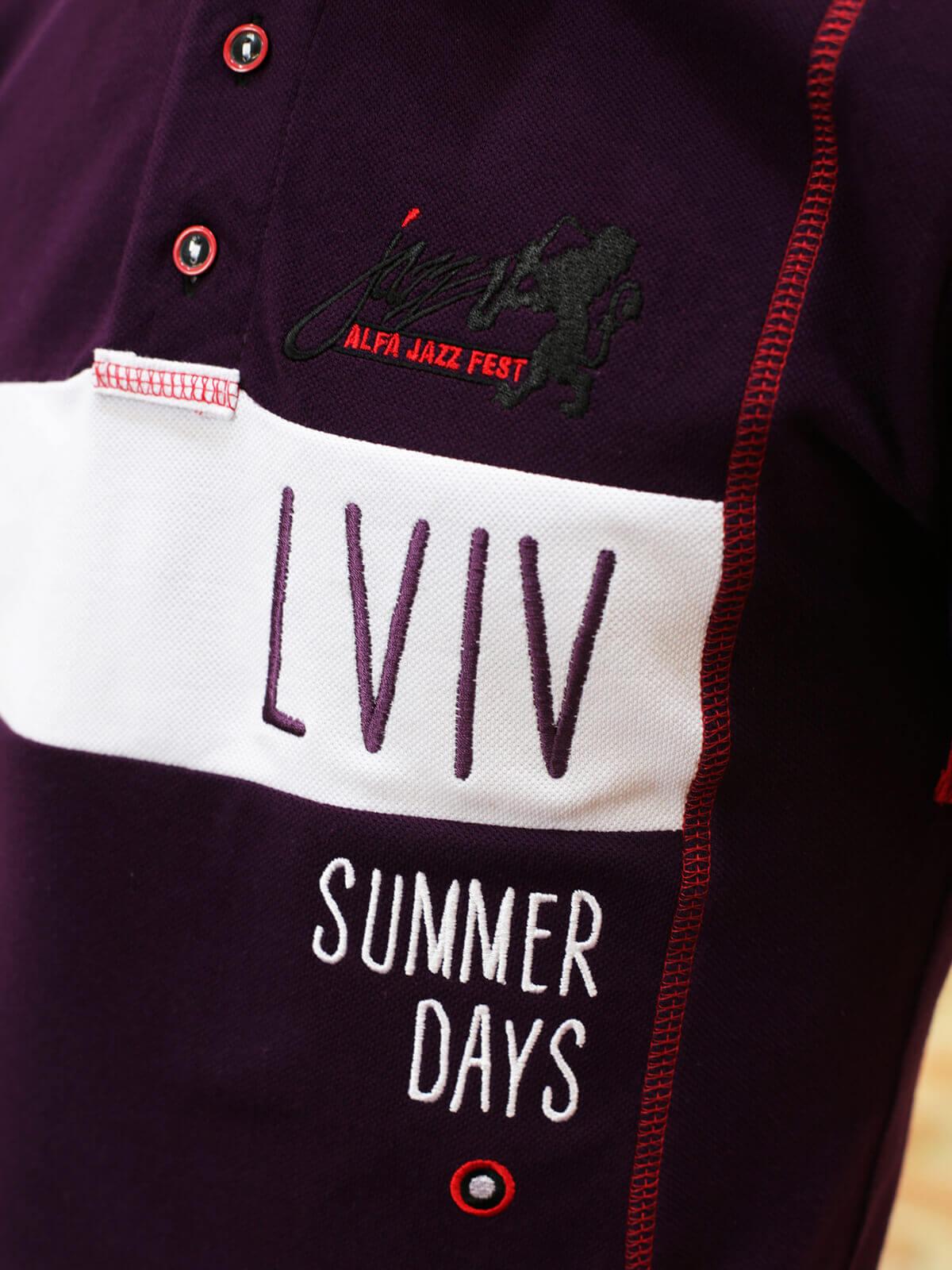 Чоловіче Поло Lviv Summer Days. Колір фіолетовий. Цей продукт наявний В ОСТАННІХ ЕКЗЕПЛЯРАХ і більше ВИГОТОВЛЯТИСЬ НЕ БУДЕ.