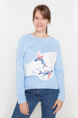 Women's Sweatshirt Flying Fishes. Three-cord thread fabric: 77% cotton, 23% polyester.
