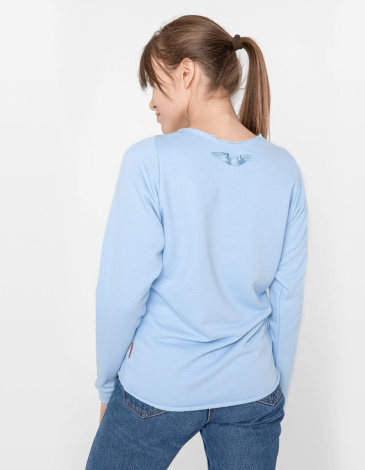 Women's Sweatshirt Flying Fishes. Color sky blue. Three-cord thread fabric: 77% cotton, 23% polyester.