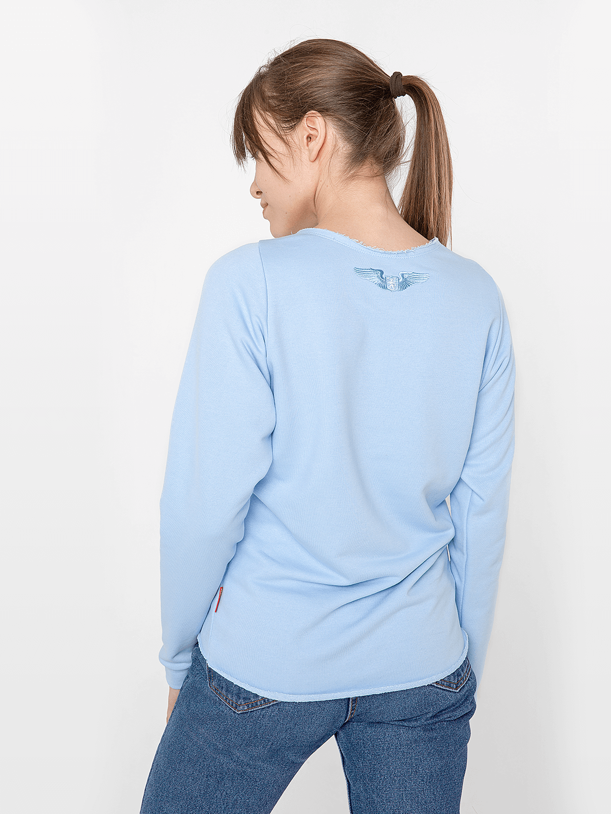 Women's Sweatshirt Flying Fishes. Color sky blue.  Technique of prints applied: silkscreen printing, embroidery.