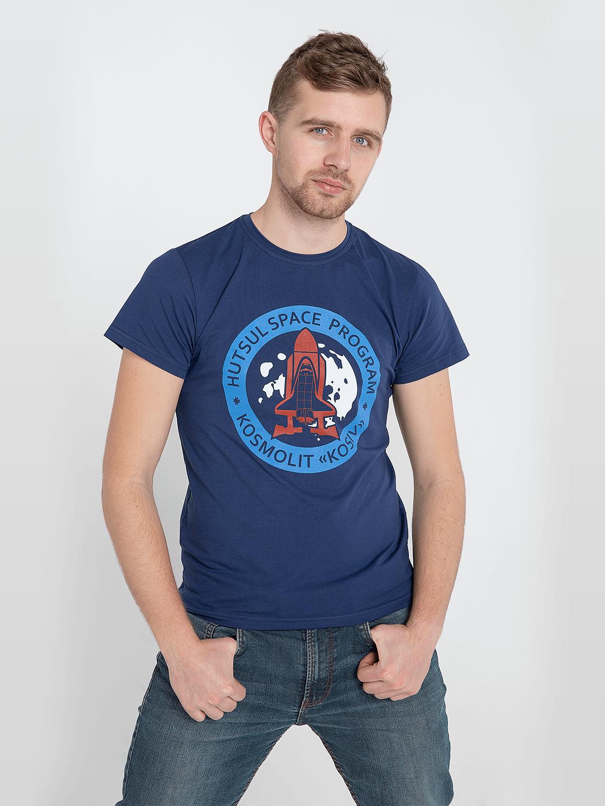 Чоловіча Футболка Kosmolit Kosiv. Колір темно-синій. Футболка унісекс (розміри чоловічі).