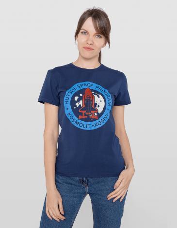 Women's T-Shirt Kosmolit Kosiv. Color dark blue. Material: 95% cotton, 5% spandex.