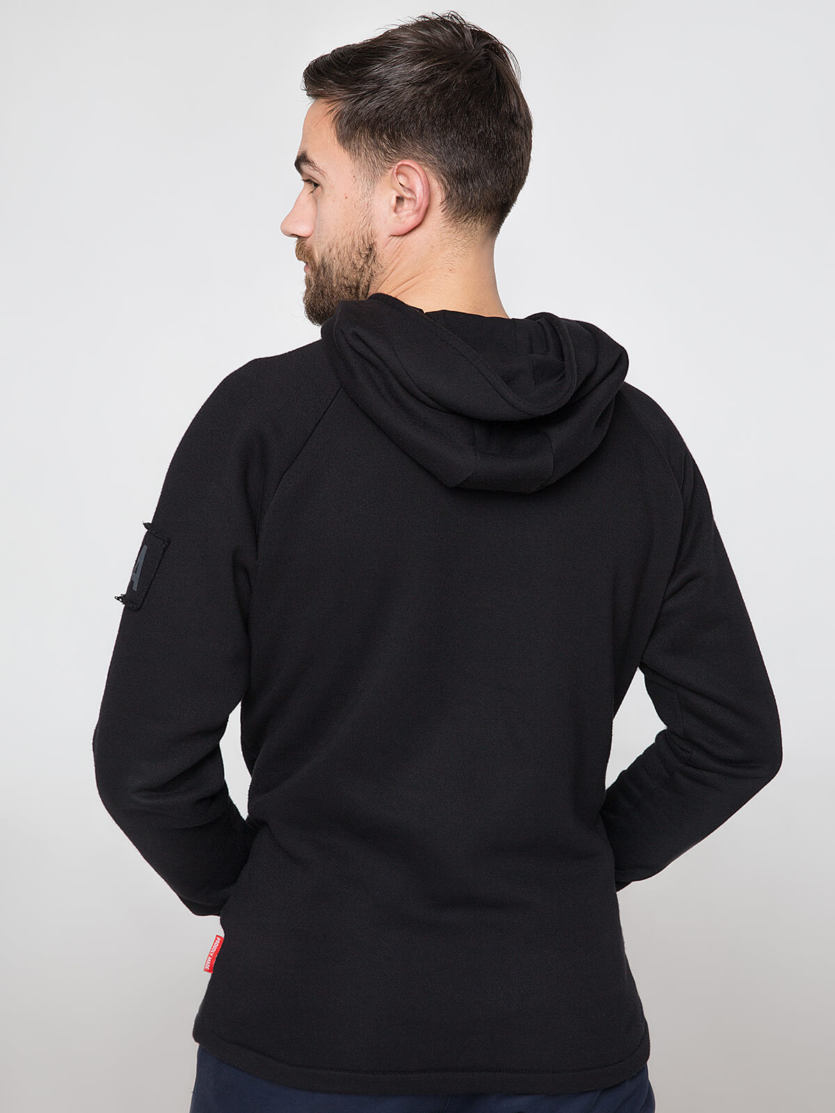 Men's Hoodie Roundel. Color black.  Height of the model: 180 cm.