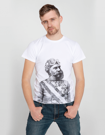 Men's T-Shirt Franz Joseph. Color white. Unisex T-shirt (men's sizes).