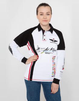 Women's Polo Long Ukrainian Teams. Color white. Цей продукт наявний В ОСТАННІХ ЕКЗЕПЛЯРАХ і більше ВИГОТОВЛЯТИСЬ НЕ БУДЕ.