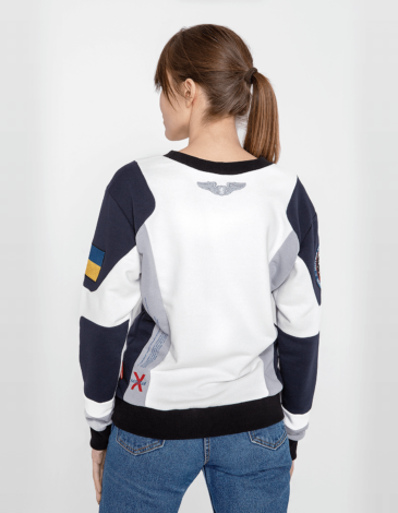 Women's Sweatshirt Molfar-X. Color white. Three-cord thread fabric: 77% cotton, 23% polyester.