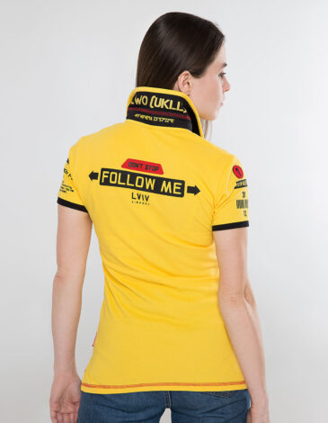Women's Polo Shirt Follow Me. Color yellow. Pique fabric: 100% cotton.