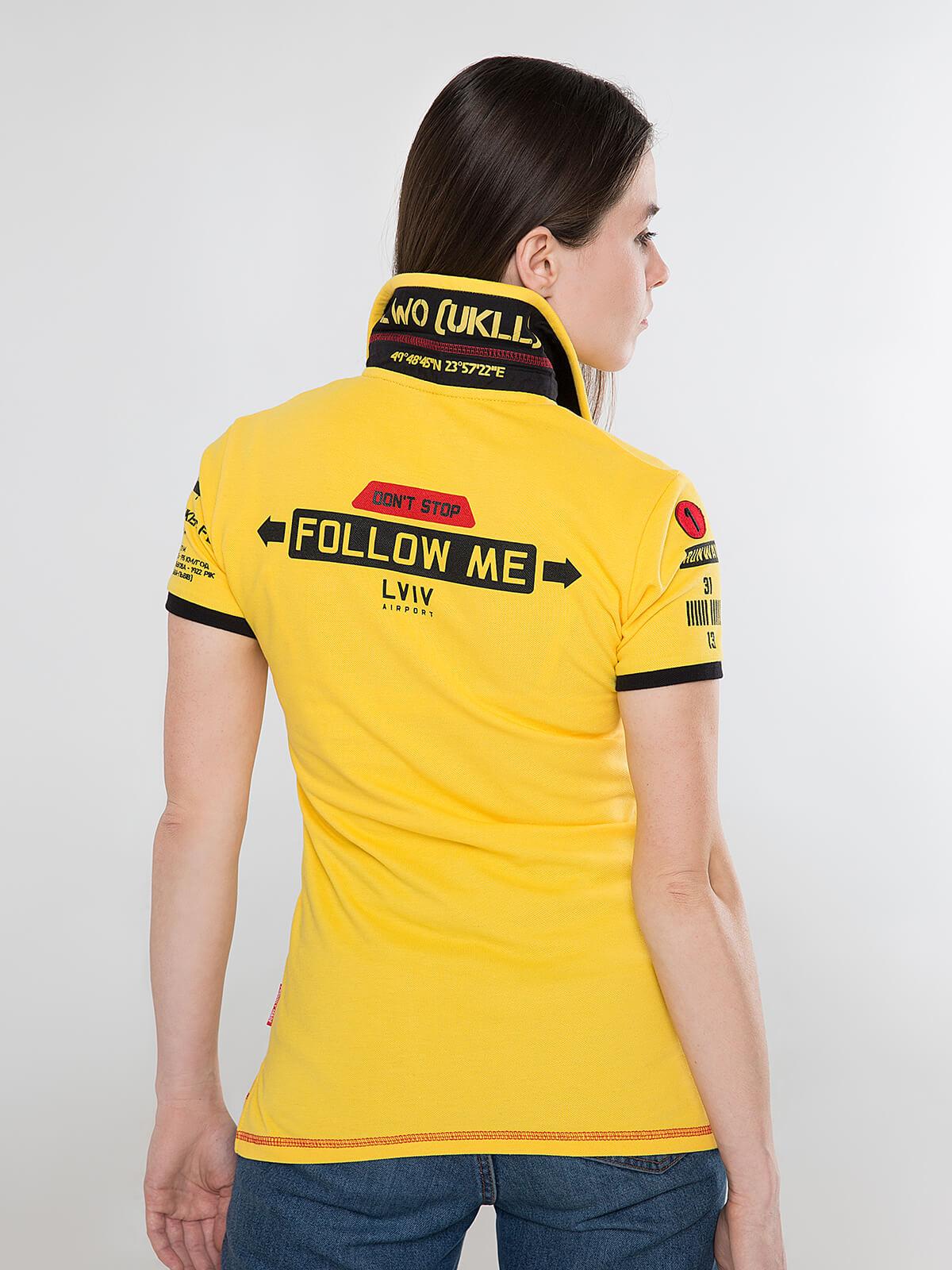 Жіноче Поло Follow Me. Колір жовтий.  Технологія нанесення зображень: вишивка, шовкодрук, шеврони.