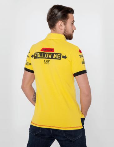 Men's Polo Shirt Follow Me. Color yellow. Pique fabric: 100% cotton.