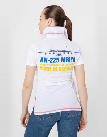 Women's Polo Shirt Mriya. Color white. Pique fabric: 100% cotton.
