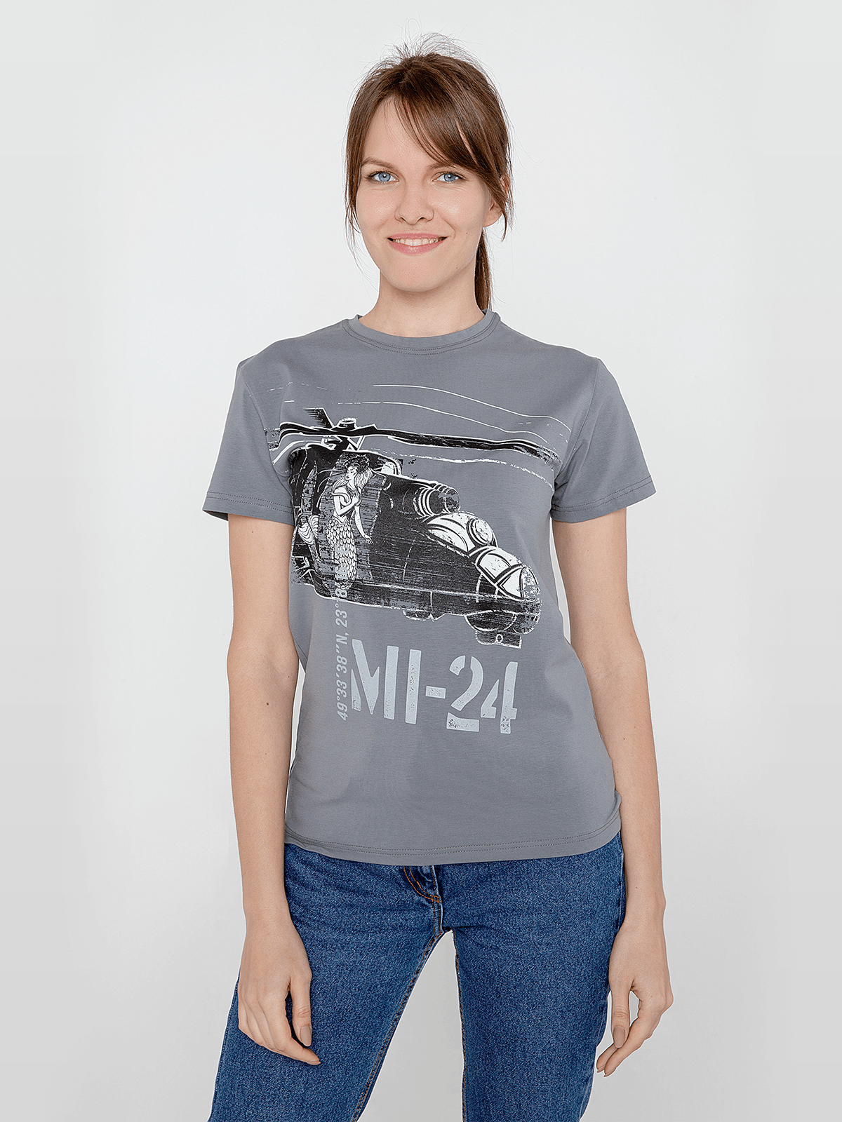 Women's T-Shirt Мі-24. Color gray. Material: 95% cotton, 5% spandex.
