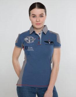 Women's Polo Shirt 10 Brigade. Color denim.  Технологія нанесення зображень: вишивка, шовкодрук.