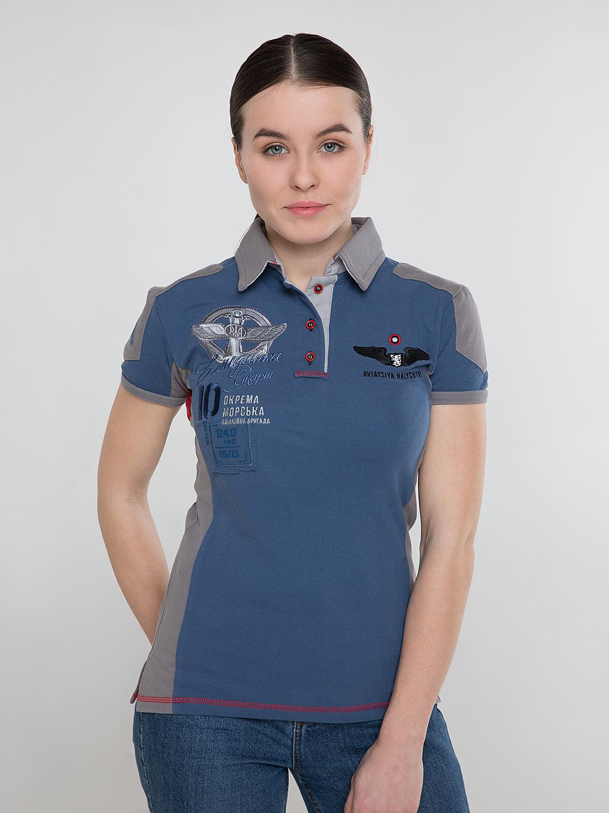 Women's Polo Shirt 10 Brigade. Color denim. Pique fabric: 100% cotton.