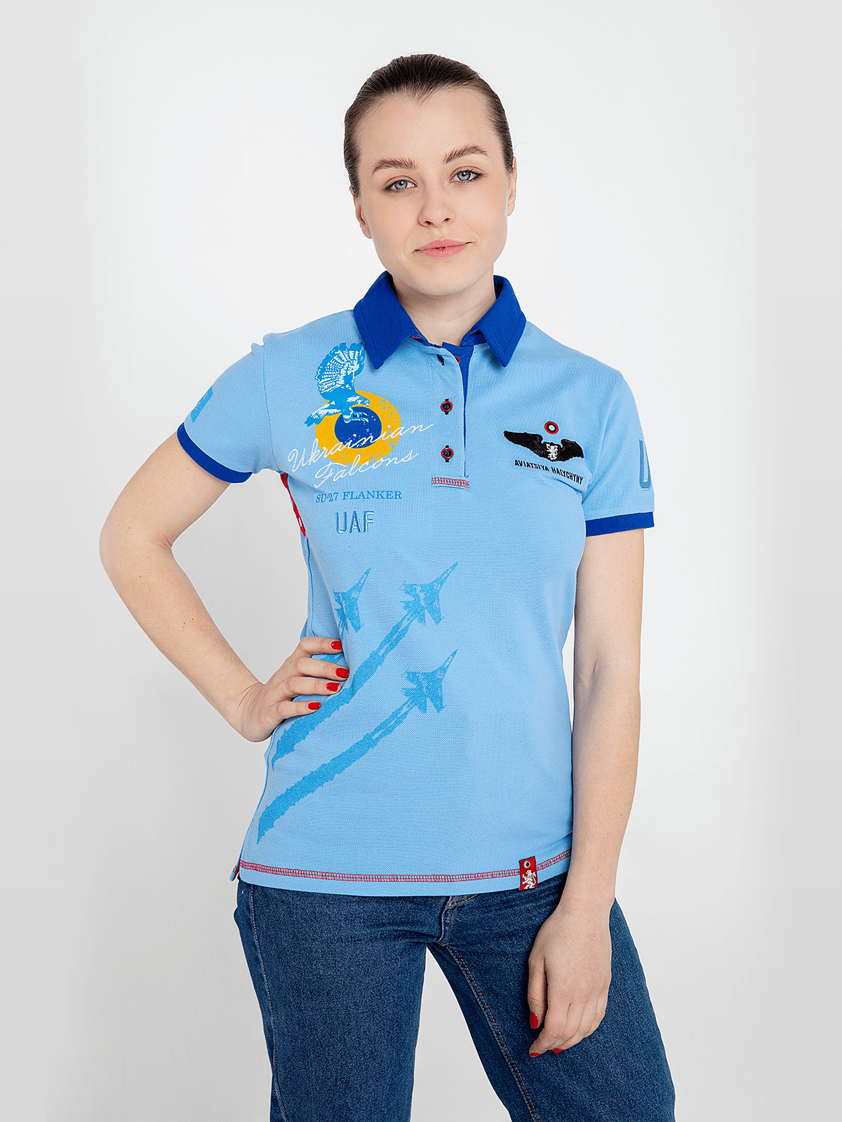 Women's Polo Shirt Ukrainian Falcons. Color sky blue. Pique fabric: 100% cotton.