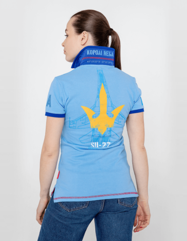 Women's Polo Shirt Ukrainian Falcons. Color sky blue. Pique fabric: 100% cotton.