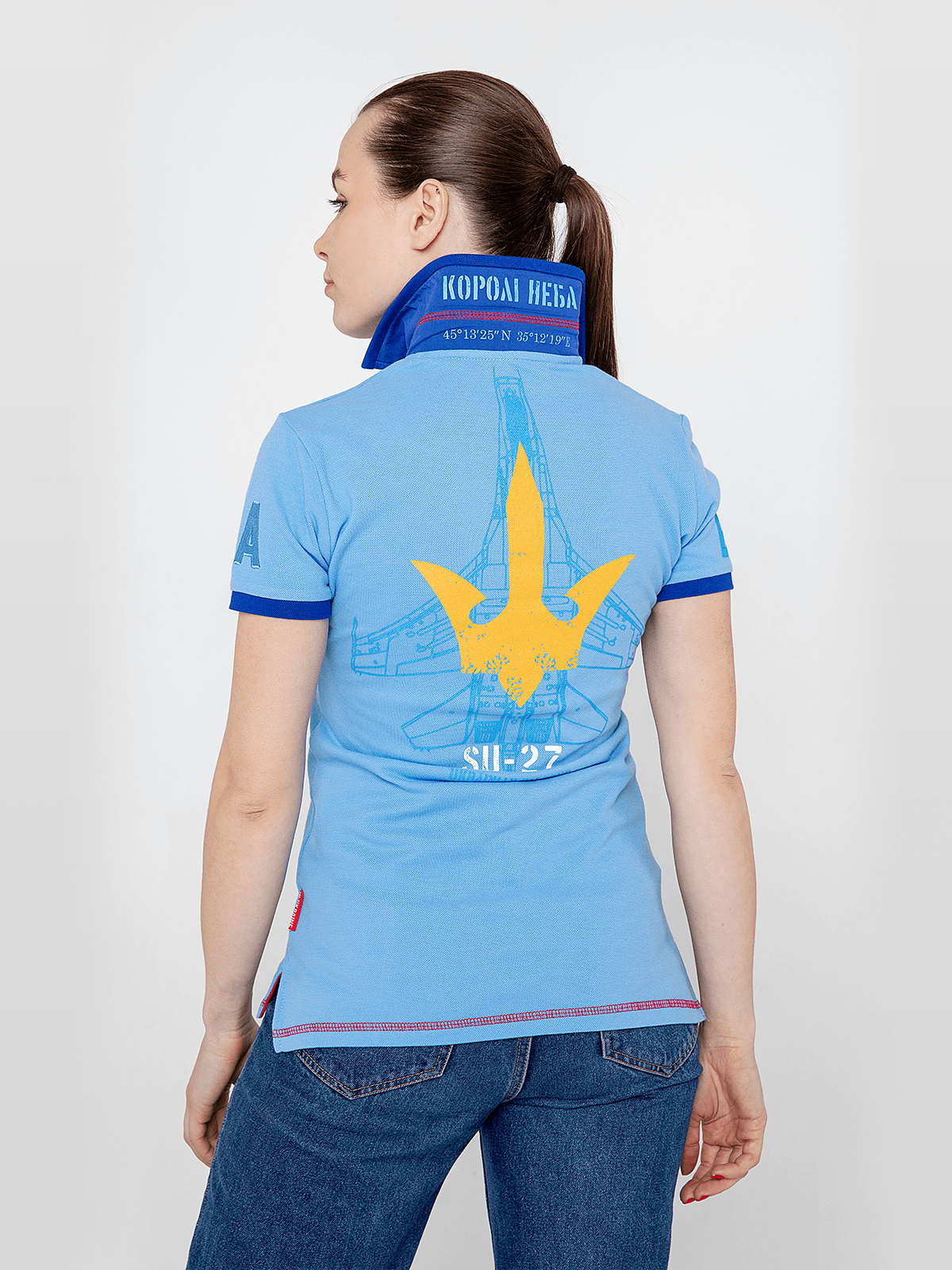 Women's Polo Shirt Ukrainian Falcons. Color sky blue.  Technique of prints applied: embroidery, silkscreen printing.