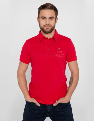 Men's Polo Shirt Wings. Color red. 12.