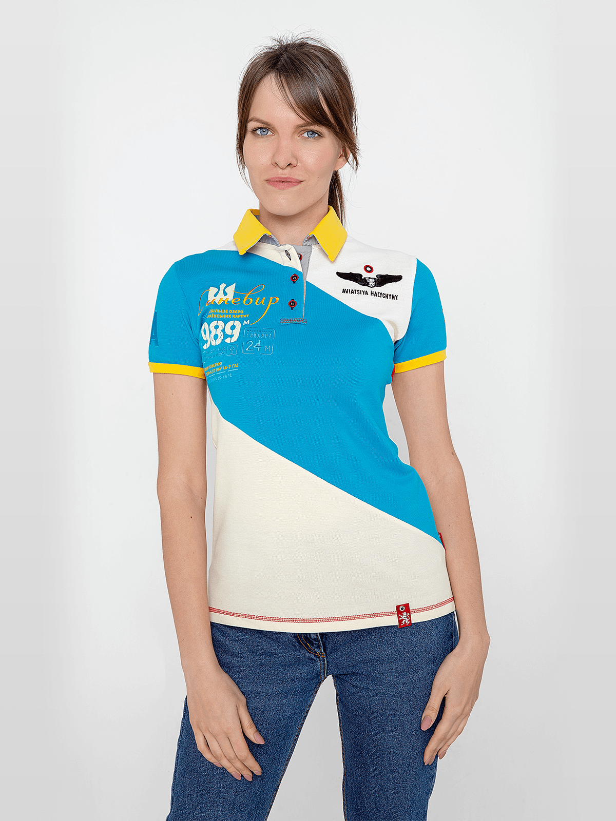 Women's Polo Shirt Synevyr. Color turquoise. Pique fabric: 100% cotton.