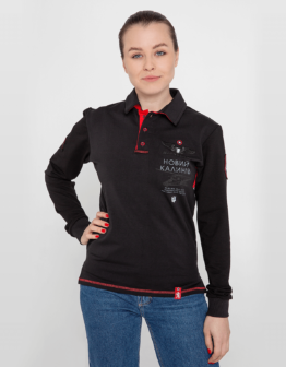 Women's Polo Long 12 Brigade (Kalyniv). Color black. Поло унісекс (розміри чоловічі).