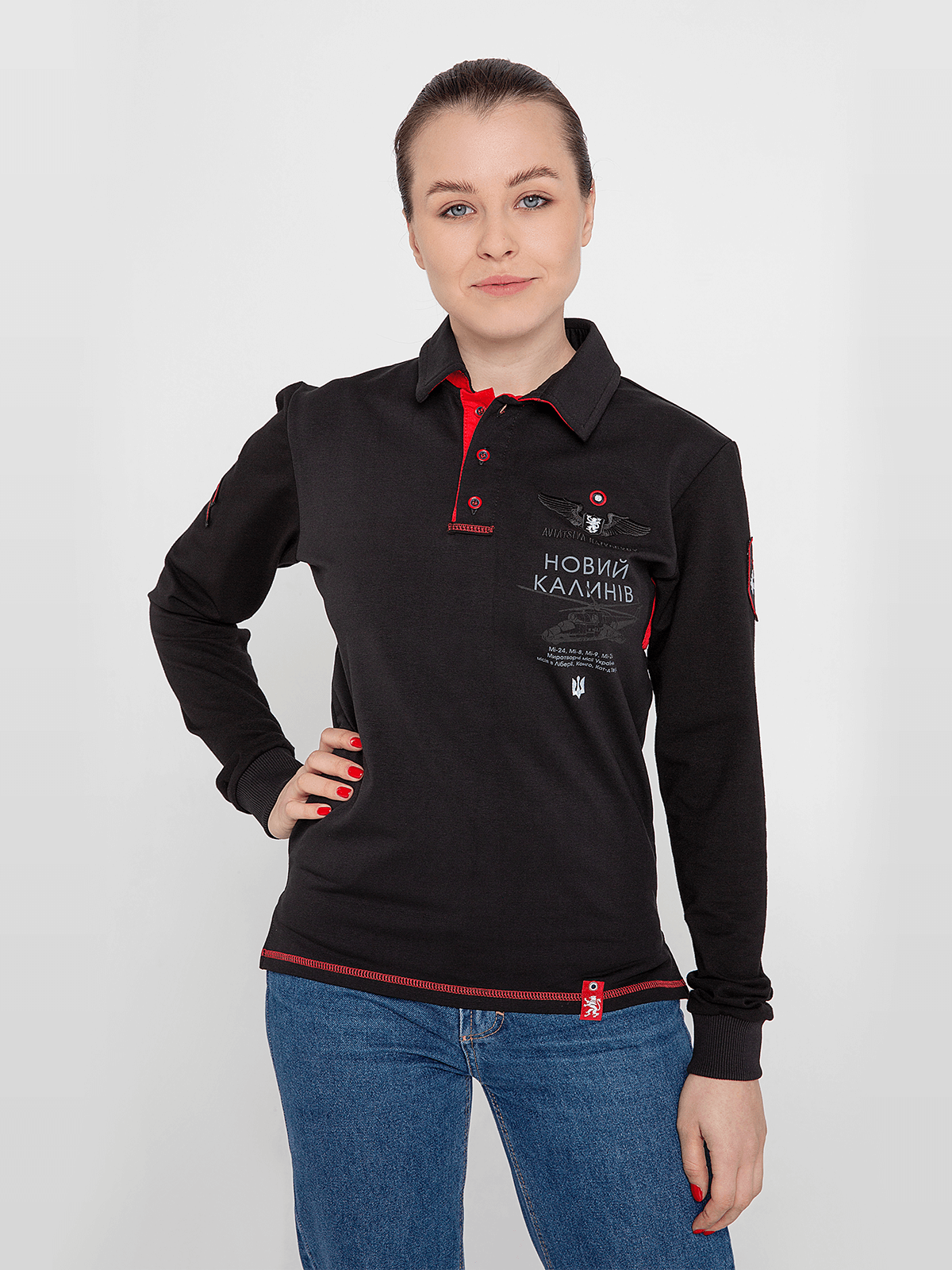 Women's Polo Long 12 Brigade (Kalyniv). Color black. Material: 75% cotton, 21% polyester, 4% spandex.