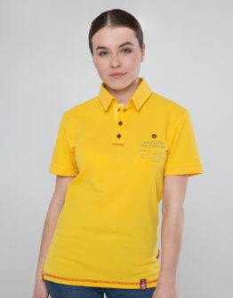 Women's Polo Shirt Wings. Color yellow.  Технологія нанесення зображень: вишивка, шовкодрук.